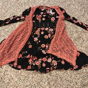 Floral dress with a cardigan